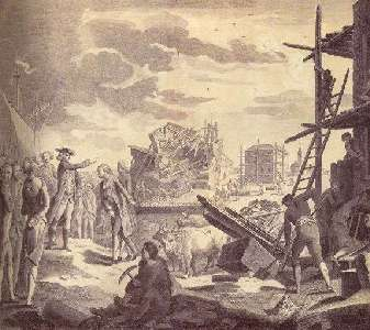 Autor nieznany, ilustracja ukazująca zniszczenia Lizbony