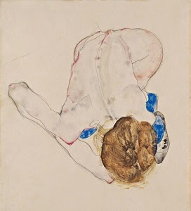 Egon Schiele - Nude with blue stockings, bending forward