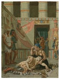 """Alexandre Bida, """"Kleopatra podtrzymująca martwego Antoniusza"""""""
