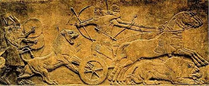 Relief asyryjski przedstawiający scenę polowania