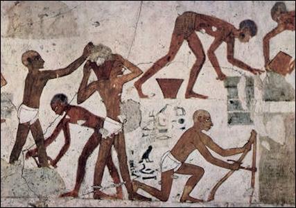 Fresk przedstawiający pracę w starożytnej egipskiej kopalni